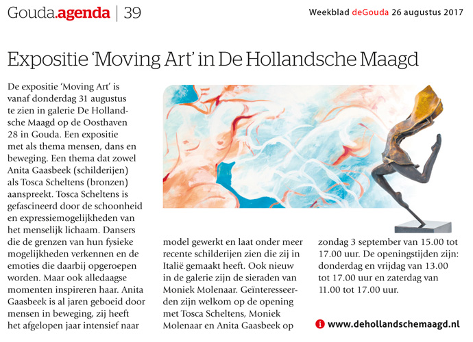 artikel weekblad deGoude Moving Art in de Hollandsche Maagd